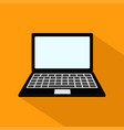 laptop computer on orange background with shadow vector image