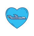 love plane travel aviation transport airport vector image vector image