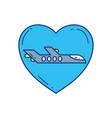 love plane travel aviation transport airport vector image