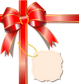 Luxurious gift with red ribbon and card vector image vector image