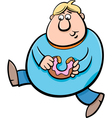 man with donut cartoon vector image vector image