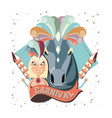 masquerade woman with carnival horse vector image