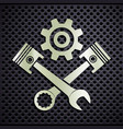 metal emblem engine with plungers and a wrench vector image