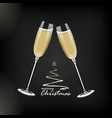 new year glasses of champagnerealistic style vector image vector image