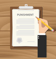 punishment concept with businessman hand signing vector image vector image