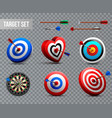 realistic target transparent icon set vector image vector image