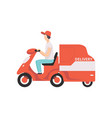 red delivery tricycle with courier express vector image vector image