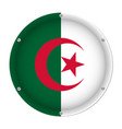 round metallic flag of algeria with screws vector image