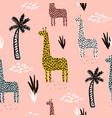 seamless pattern with giraffe palm tree hand vector image