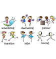 Six different activities vector image vector image