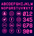 social media and number with neon effect vector image vector image