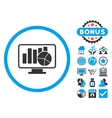 Statistics Monitoring Flat Icon with Bonus vector image