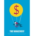 Time management banner with flying man vector image
