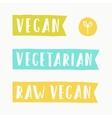 Vegan vegetarian raw food signs vector image