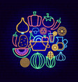 vegetables neon concept vector image