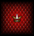 vintage crown logo on red leather wall background vector image