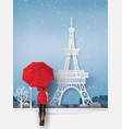 woman wearing a red coat holds an umbrella vector image vector image