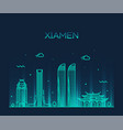 xiamen skyline china linear style city vector image vector image