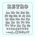 retro font on light blue background the alphabet vector image