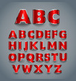 Shiny red font alphabet design vector image