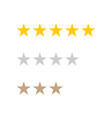 5 stars rating stars in hotel business gold vector image vector image