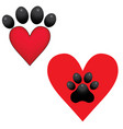 adopt dog paw heart animal help vector image vector image
