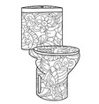 adult antistress coloring flush toilet pattern vector image
