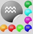 Aquarius icon sign Set of eight multi colored vector image