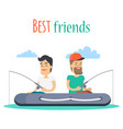 best friends fishing on inflatable boat vector image vector image