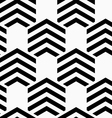 Black and white striped hexagons vector image vector image