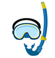 Blue diving mask and tube vector image vector image