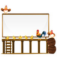 board template with chickens and barrels vector image vector image