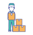 box and man design vector image vector image