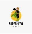 cartoon mascot superhero waiter logo template vector image