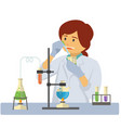 chemist with test tubes and flasks glass beaker vector image vector image
