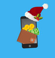 christmas or ney year mobile wallet concept vector image