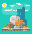 Colorful cityscape scene in flat design vector image vector image