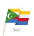 Comoros Ribbon Waving Flag Isolated on White vector image