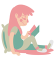 Cute Girl Reading vector image vector image