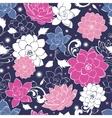 Dark grey pink floaral seamless pattern vector image vector image