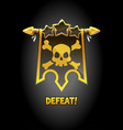 defeat pop-up banner with black flag and skull vector image