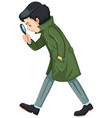 detective in green overcoat holding magnifying vector image