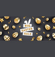 easter sale black background with realistic golden vector image