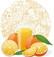 Fresh orange juice fruit and slices vector image