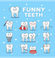 funny teeth icon set isolated on blue background vector image vector image