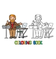 Funny university lecturer Coloring book vector image