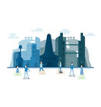 future people in urban buildings with blue sky vector image vector image