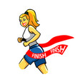 girl running reach finish line vector image vector image