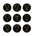 gold line goblets icon set vector image vector image