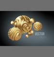 golden metal organic shape 3d sphere background vector image vector image